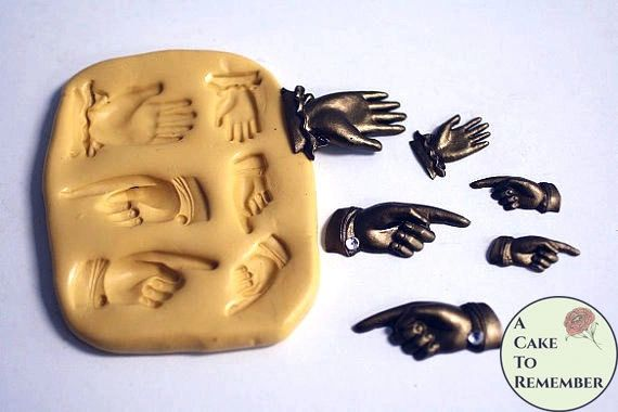 Collection of hands silicone mold for polymer clay or cakes M13