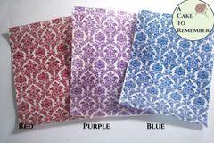 Three sheets printed edible wafer paper damask pattern