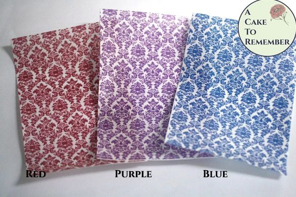 Three sheets printed edible wafer paper damask pattern