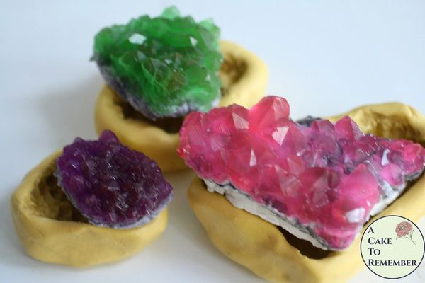 Geode silicone mold set for isomalt or soap, three sizes.
