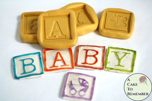 "Baby blocks silicone mold set, about 1 1/4"" wide each. M5125"