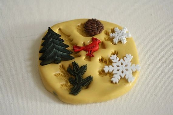 Winter theme silicone mold for cakes or clay craft supplies M5056