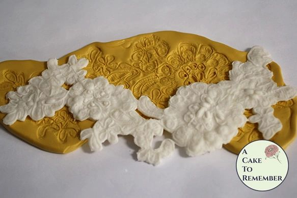 "Long alencon cake lace mold, lace mold for cake decorating. 7 1/2"" long flexible lace mold, food safe mold for cakes. M5127"