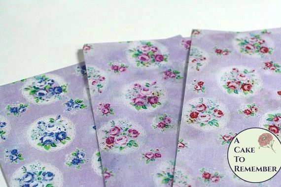 3 sheets of edible wafer paper for cakes, vintage floral medallion printed pattern