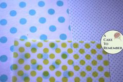 3 Edible wafer paper sheets, printed polka dots pattern