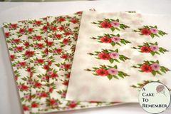 Set of 4 sheets, small roses floral printed wafer paper for cake decorating