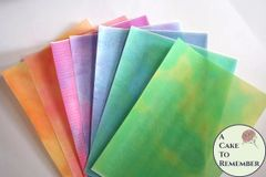 3 full sheets watercolor effect printed wafer paper for cake decorating.