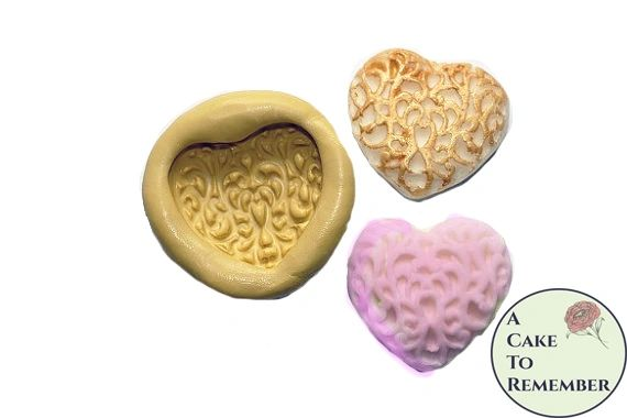 "1.25"" Filigree heart silicone mold for polymer clay crafts M018"