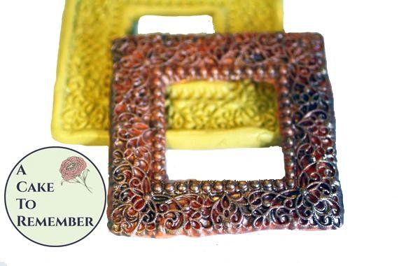 Filigree square frame mold for cake decorating M097