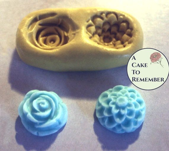 "Food safe flexible 3/4"" silicone two-flower mold M034"