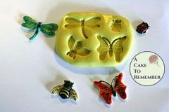 Four bugs silicone mold for cake decorating M1088