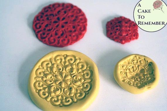 Jewel medallion mold set for cake decorating M010