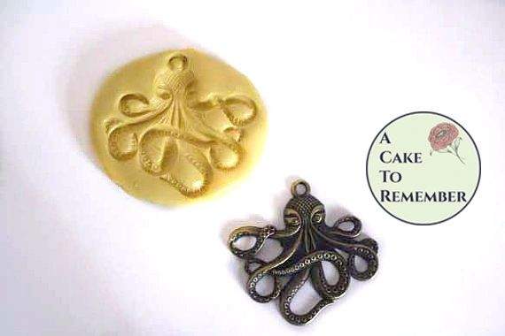 Octopus silicone mold for fondant or polymer clay M2000