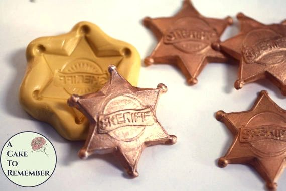 Sheriff's badge mold for polymer clay. M5045