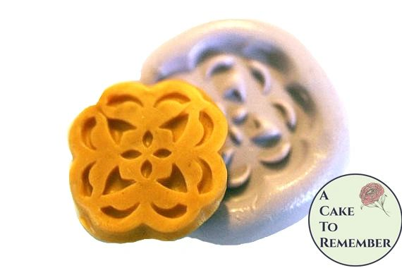 """Silicone Button medallion 1.25"""" flower mold for soap embeds M18"""