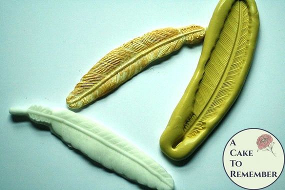 Silicone feather mold for cake decorating or polymer clay. M1074