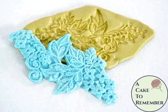 Silicone leaf and flowers fondant lace mold for cake decorating M073