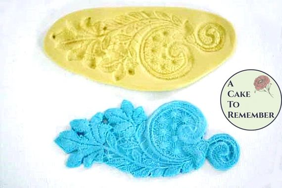 Silicone leaf and swirl fondant lace mold for cakes M1015