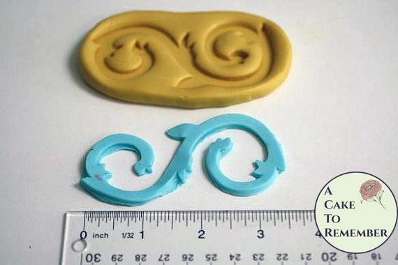 Large scroll silicone mold for cake decorating M04