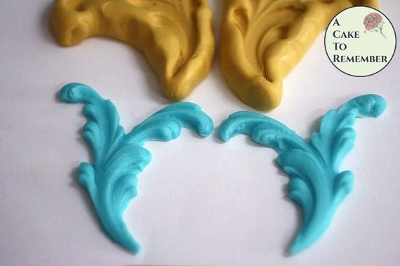 Split scroll silicone mold set for cake decorations M5039