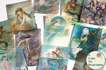 12 vintage mermaids wafer paper cookie decorating images