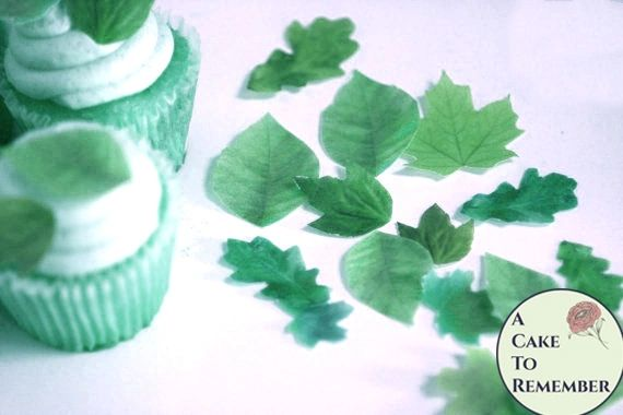 """24 small edible leaves for cupcakes, 1/2""""-1.25"""" sizes, shades of green."""