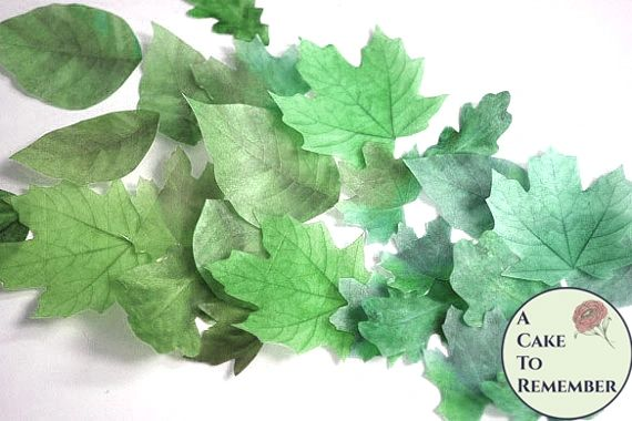 """15 green edible wedding cake leaves, large 1.5"""" to 3"""" sizes, wafer paper."""