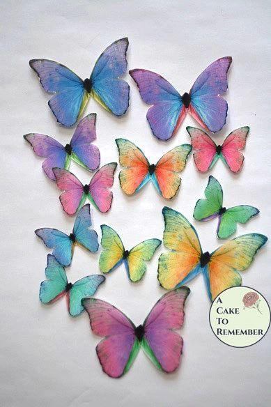 Rainbow cupcake toppers, bridal shower edible butterflies
