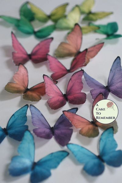Edible cake decorating butterflies, 12 blue morpho pattern