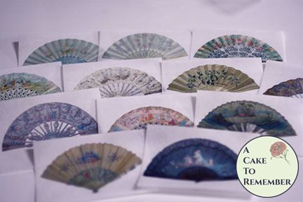12 fancy fan wafer paper images for cookie decorating.
