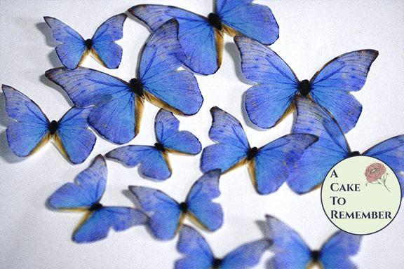 12 blue wafer paper edible butterflies for rustic weddings