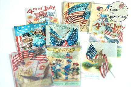 12 vintage Fourth of July wafer paper images for cookie decorating