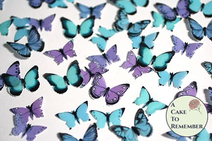 48 small teal, blue and purple edible wafer butterflies