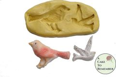 Birds silicone mold for cake decorating or polymer clay M1085