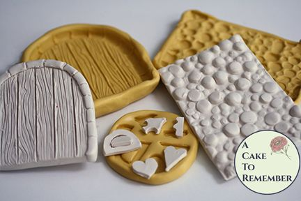 Fairy door silicone mold set for cake decorating or polymer clay.