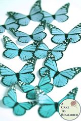 12 teal edible cake decorating butterflies, wafer paper monarch pattern