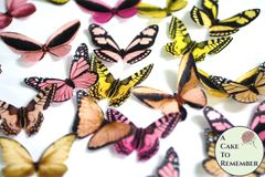 20 pink, peach and yellow edible butterflies for cupcake toppers