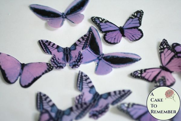 20 purple edible cake decorating butterflies for cupcake toppers