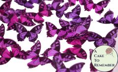 24 red, purple and magenta edible butterflies for cake decorating