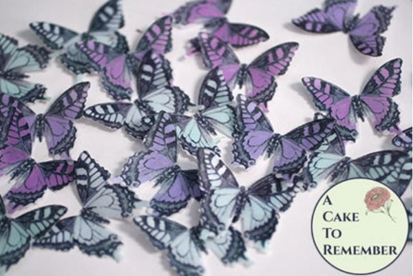 24 light blue and lavender edible butterflies for cake decorating