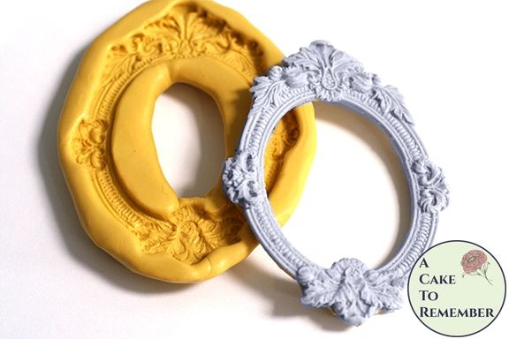 Floral frame silicone mold for cakes or polymer clay M5165