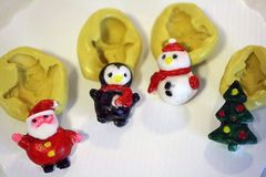 Christmas Silicone Mold set, Santa, penguin, snowman and tree