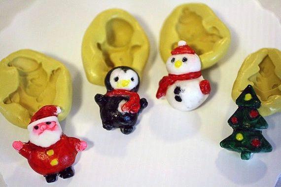 Christmas Silicone Mold set, Santa, penguin, snowman and tree