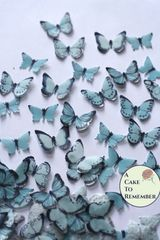 48 small light blue edible butterflies for cupcakes