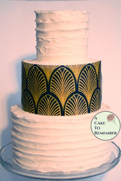 Three full sheets printed art deco edible wafer paper for cake decorating.