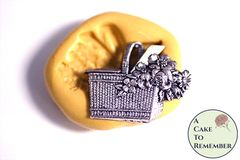 Basket of flowers silicone mold M5229