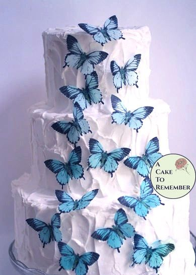 "15 teal blue edible butterflies, 2"" wide"