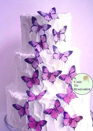 "15 ombre pink edible butterflies, 2"" wide"