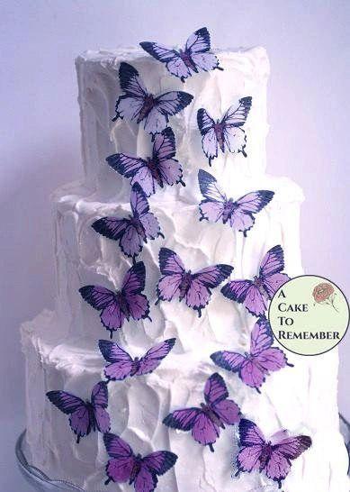 """15 ombre purple edible butterflies, 2"""" wide"""