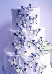 """15 wafer paper black and white edible butterflies, 2"""" wide"""